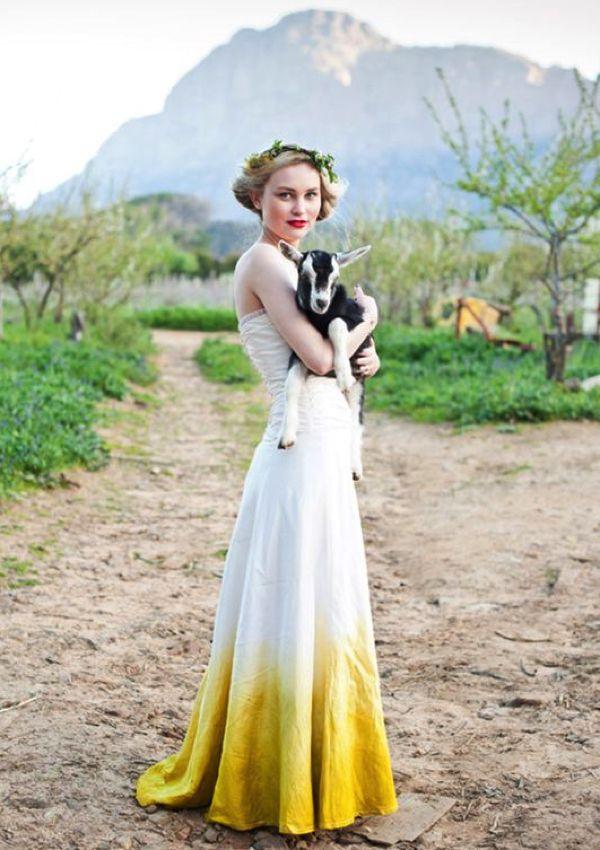 Hot Wedding Trend Dip Dye Wedding Dress Vintage Yellow Weddings