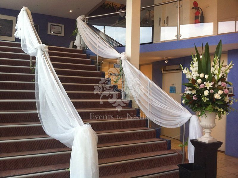 wedding staircase decorations decorating wedding staircase with chiffon staircase 1163