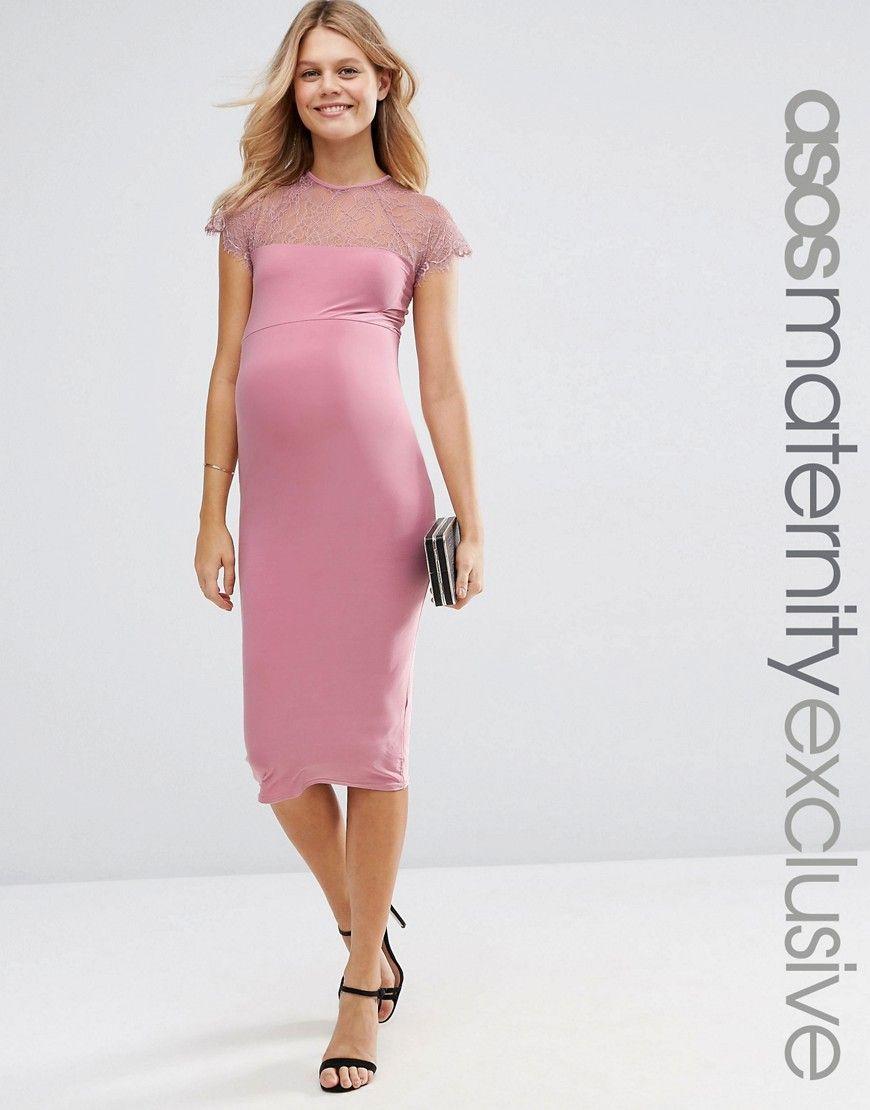 Imagen 1 de Vestido ajustado a media pierna con aplicación de encaje ...