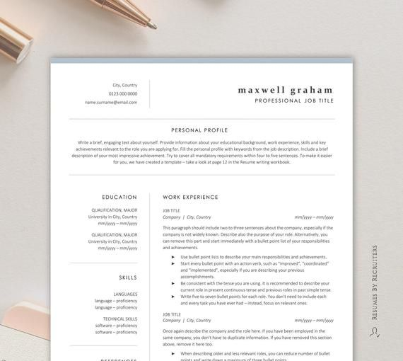 modern resume template  simple and professional cv instant