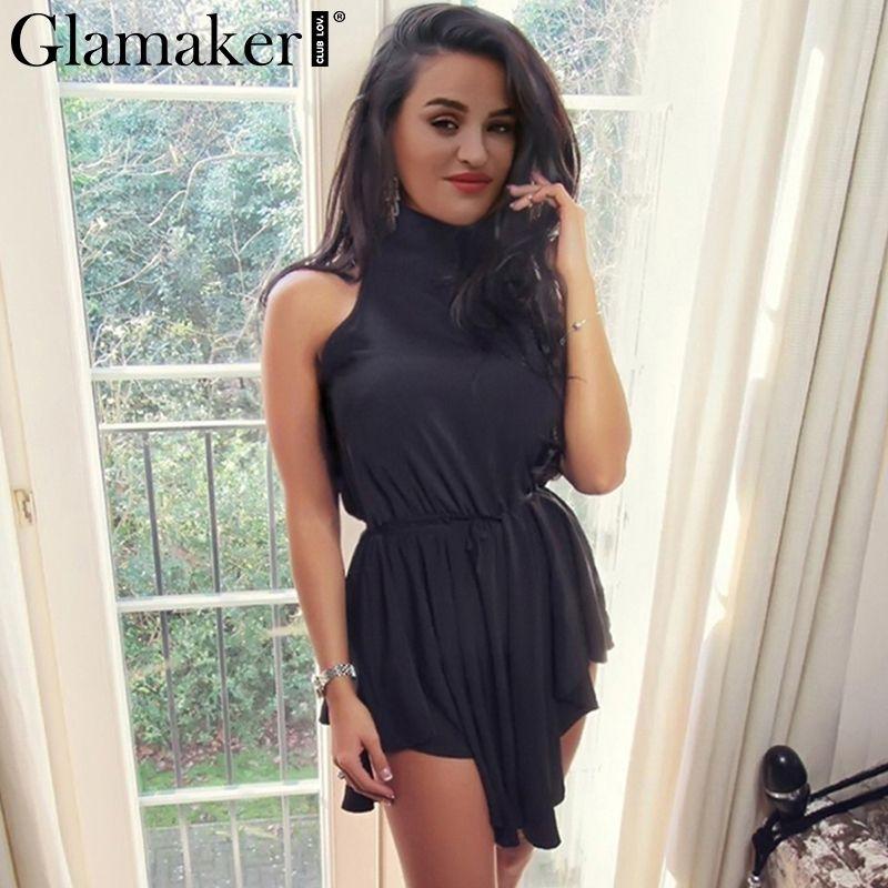 Glamaker Sexy backless summer dress women Draped halter sleeveless sundress  bodycon Elegant ladies night club black mini dress   Price   23.32   FREE  ... 462775a29
