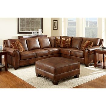 Costco-Helena Leather Sectional and Ottoman  sc 1 st  Pinterest : costco leather sectional - Sectionals, Sofas & Couches