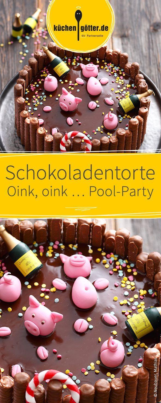 Schokoladentorte Oink, oink … Pool-Party #tortendekorieren
