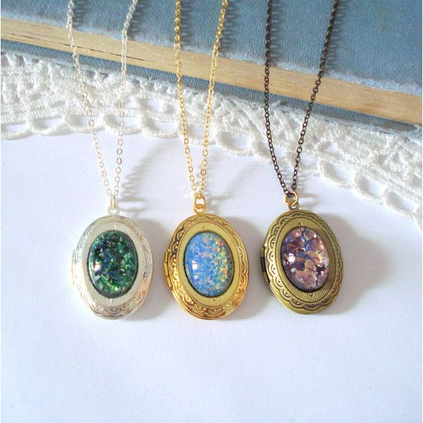 oval opal necklace locket lockets october listing brass il birthstone