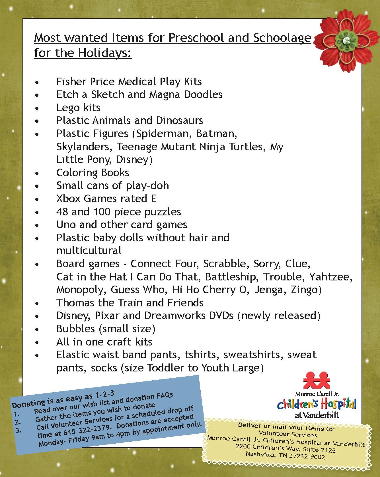 26b7e3675ea Help buy gifts for our schoolage and preschool population for the holidays.  Check out our most wanted holiday wish list for that age group.