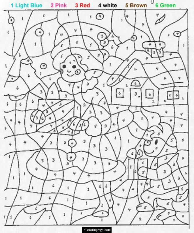 Color By Numbers Girl And Dog With Presents Coloring Pages For Kids Printable Christmas Color By Number Coloring Books Teddy Bear Coloring Pages