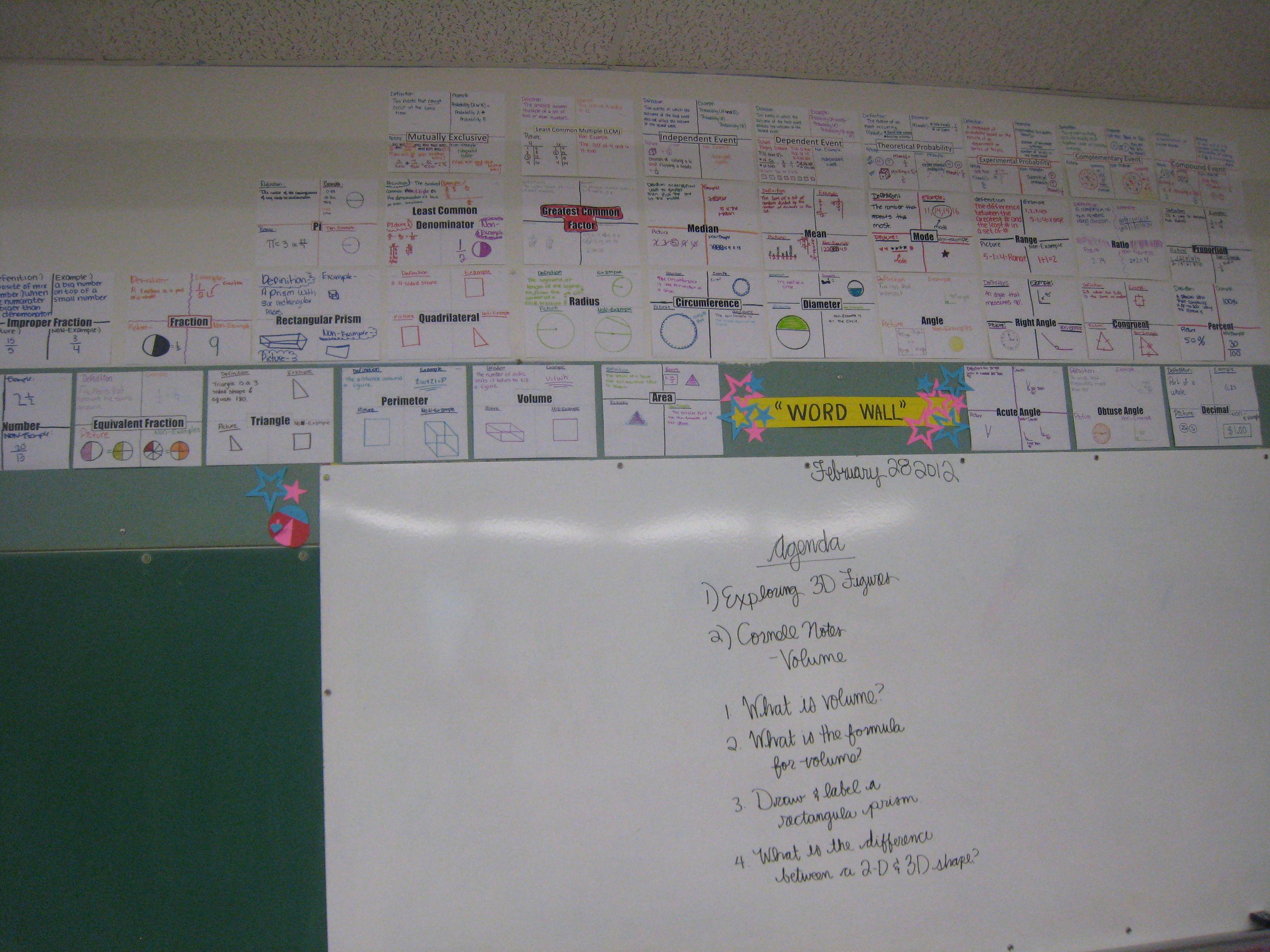 Student Made Math Word Wall