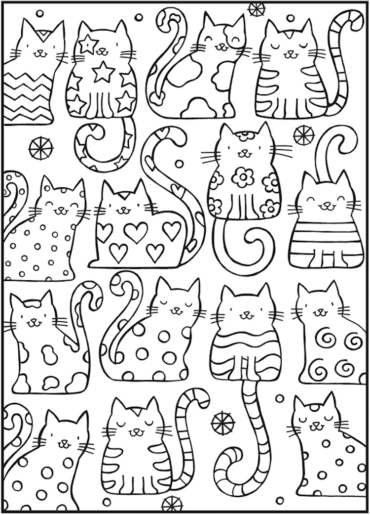 Dover Cool Cats Coloring Page 1 Cat Coloring Book Coloring Books Coloring Pages