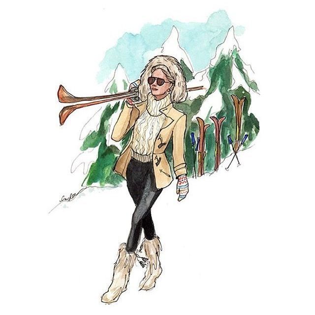 Skiing fashion illustration, but haha you can't walk like that in snow unless you're Barbie or Beyoncé.