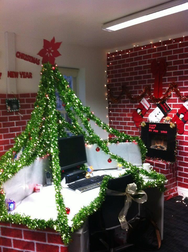 office ideas for christmas. christmas work desk pod decorations cards and green paper clips or clothes pins will make this our office tree ideas for