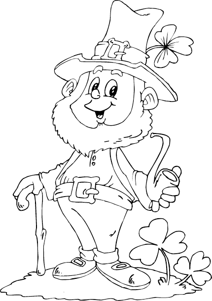 Leprechaun Holding Pipe Coloring Page Coloring Com Wintergreen