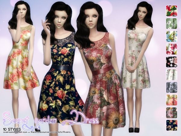 The Sims Resource: Secret garden dress by Aveira • Sims 4
