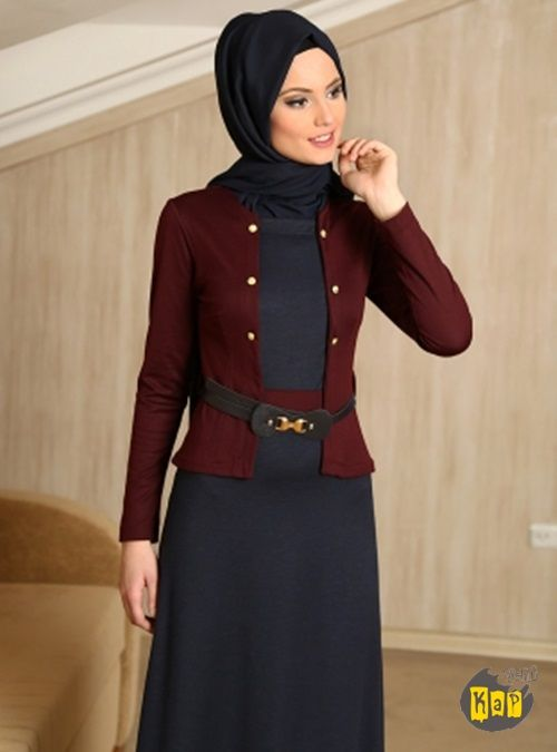 Ustu Ceket Gorunumlu Elbise Bordo Refka Tesettur Armine Aker Kayra Setrms Elbise Kiyafet Elbise Modelleri