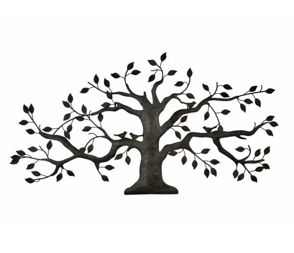 Black metal tree with birds tree wall hanging tree wall decor metal wall art