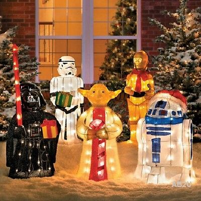new 5pc prelit star wars lighted sculptures outdoor christmas holiday yard decor