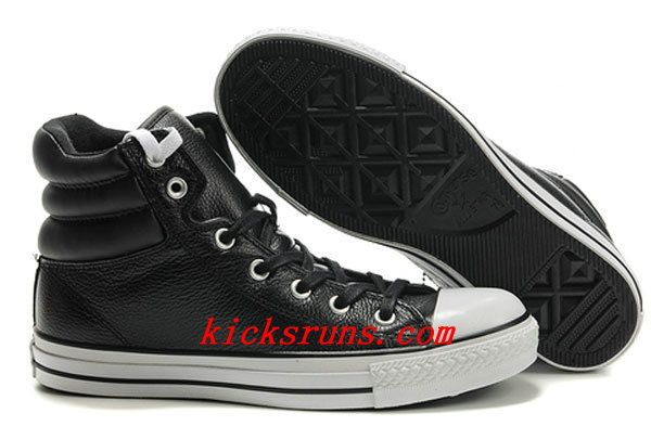 c369ca99d15d 2013 New Embroidery Black Leather Converse Padded Collar Chuck Taylor All  Star High Winter Boots Outlet