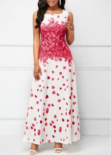Round Neck Sleeveless Printed White Maxi Dress  89d49b374