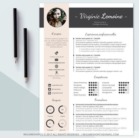 4 cv    professional resume  modern and graphic   4 letters   pack of extra pictograms for