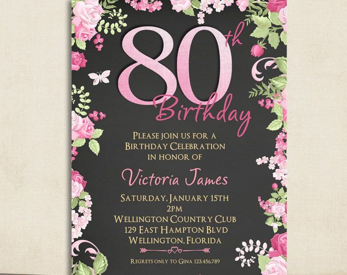 Cottage Chic Pink Chalkboard 80th Birthday Invitation Any Age Adult Vintage Floral Rose Ohmbre Printable Invite