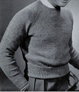 Raglan Slipover knit pattern from Sweaters for Men & Boys, originally published by Jack Frost, Volume No. 40, from 1947.