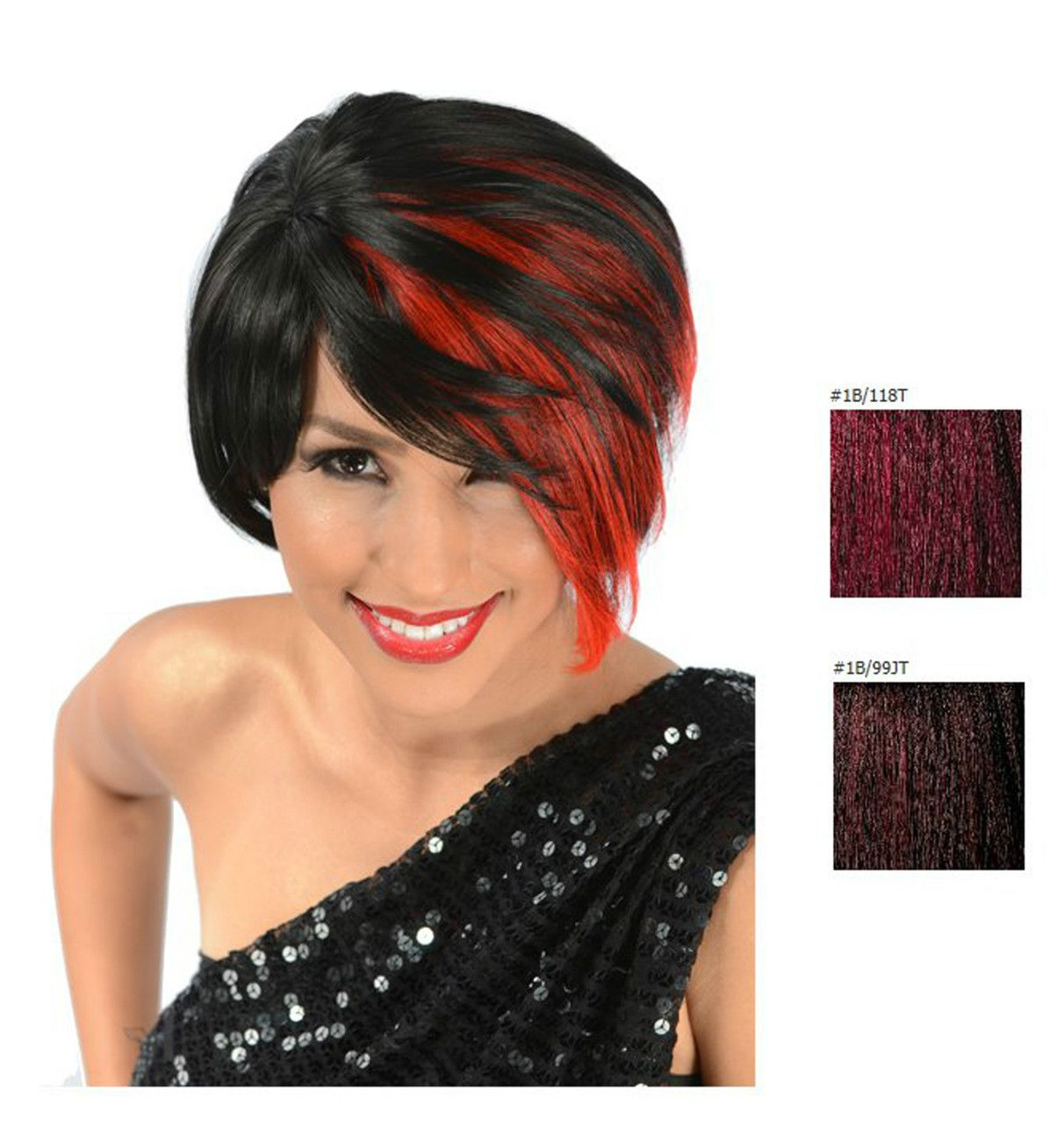 Rhiana synthetic short hair wig color black w fire red