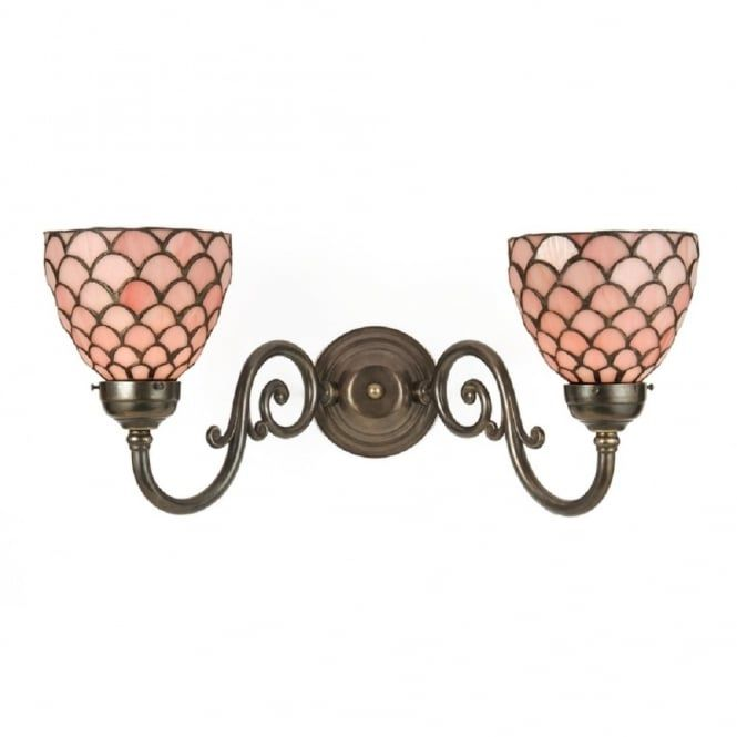 Victorian double wall light with pink tiffany glass shades traditional victorian double wall light in solid aged brass tiffany pink glass shades aloadofball Images