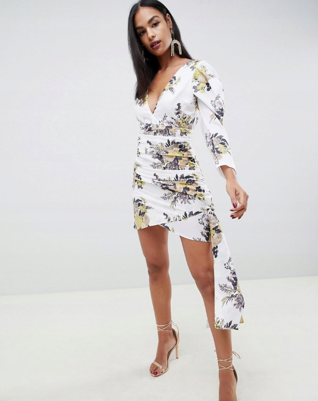 Sukienka Biala W Kwiaty Marszczona M Fx Xdd 8951133441 Oficjalne Archiwum Allegro Evening Dresses Sale Plunge Mini Dress Maxi Dress Prom