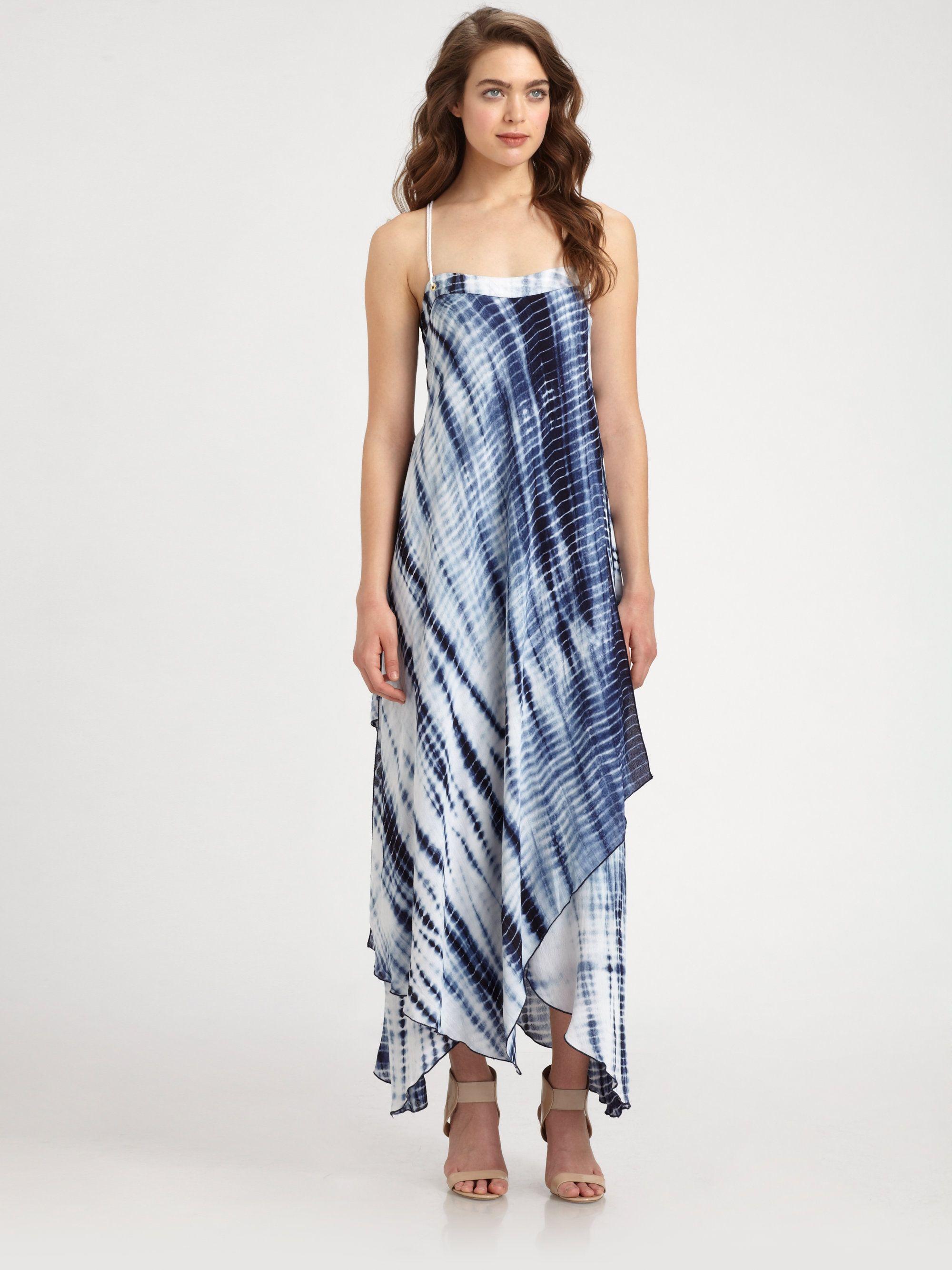 Midnight Tiedye Asymmetrical Maxi Dress