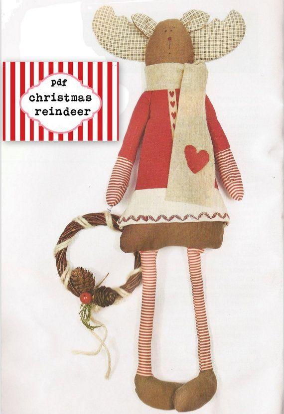 Christmas Reindeers Pattern PDF Sewing por lauracountrystyle | renos ...