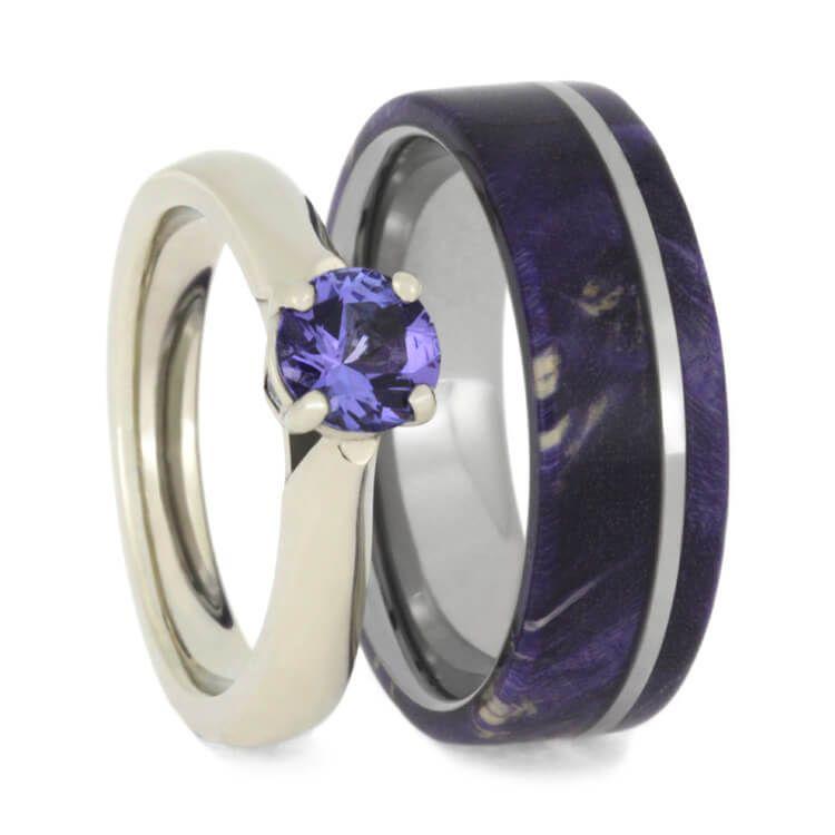 Purple Wedding Ring Set Tanzanite Ring With Wood Wedding Band 3710 In 2020 Purple Wedding Ring Set Wedding Ring Sets Purple Wedding Rings