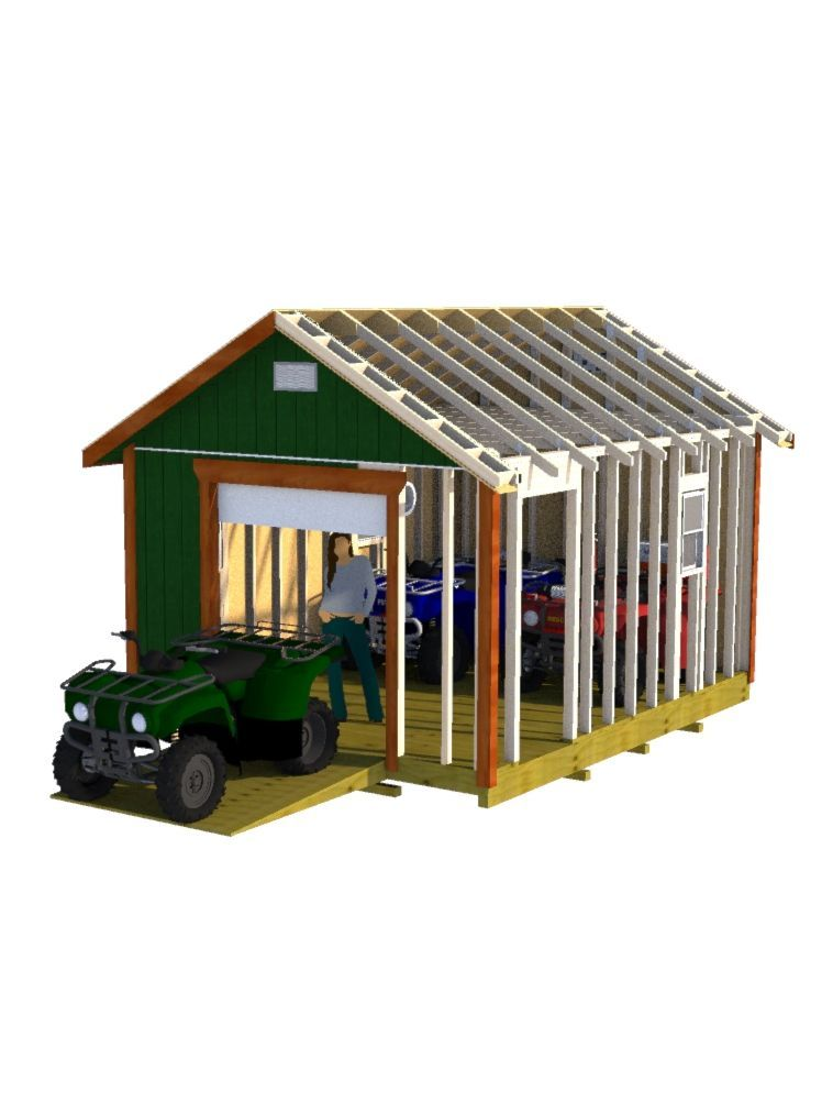 12x16 Gable Storage Shed Plans With Roll Up Shed Door