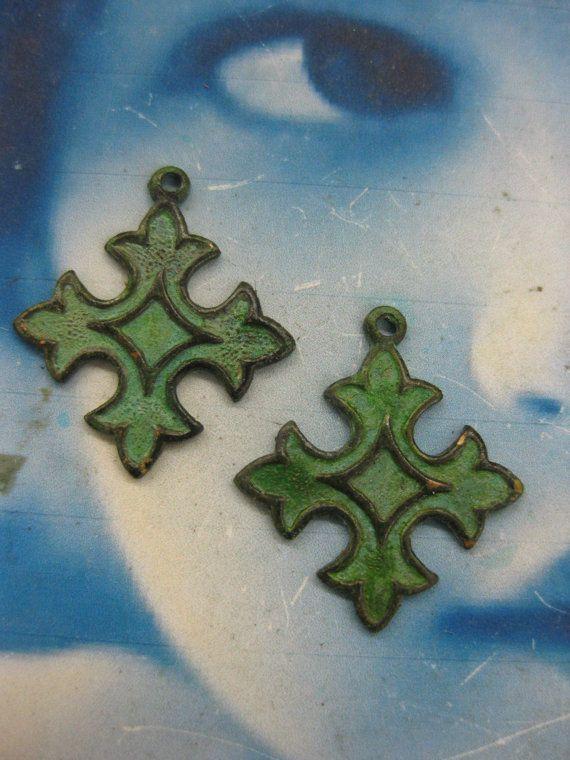 Verdigirs Patina Celtic Cross Charms 2249VER by dimestoreemporium, $2.50