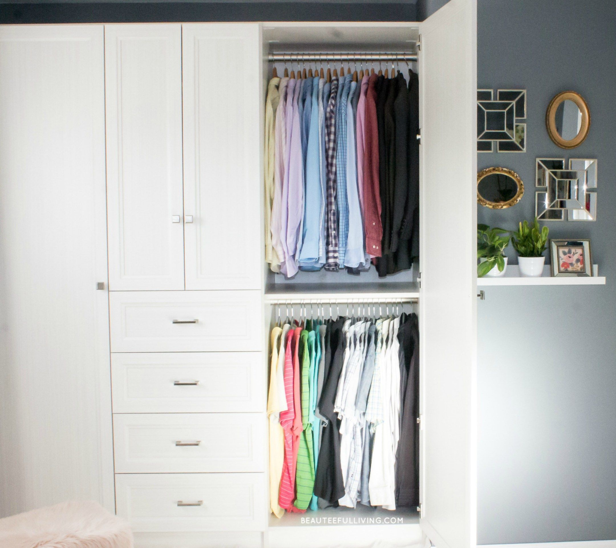 Transformed sliding door closet to custom armoire