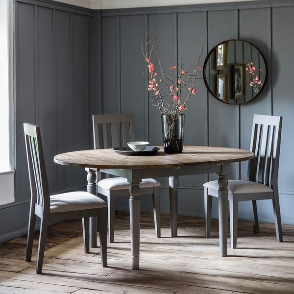 The Rural Round Extending Oak Dining Table Set Slate Grey 12m