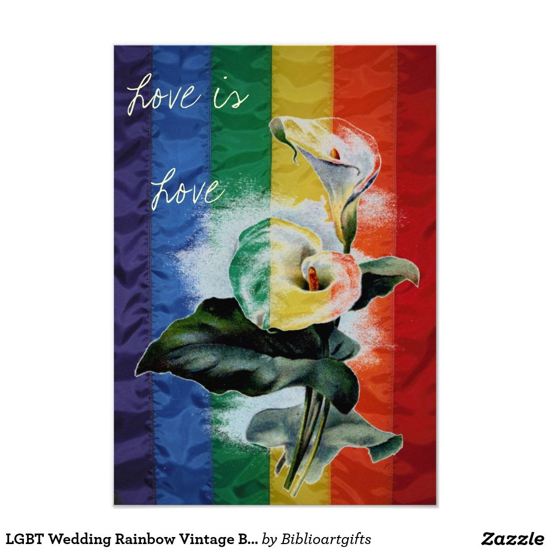 Lgbt Wedding Rainbow Vintage Botanical Calla Lily Card Lgbt
