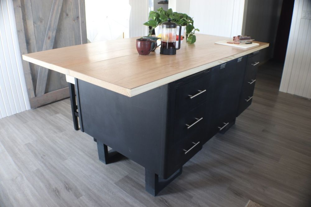 Diy Kitchen Island From An Old Desk Makeover Idea In 2020 Diy