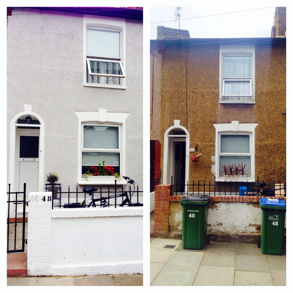 Before and After masonry paint Farrow and Ball Cornforth White ...