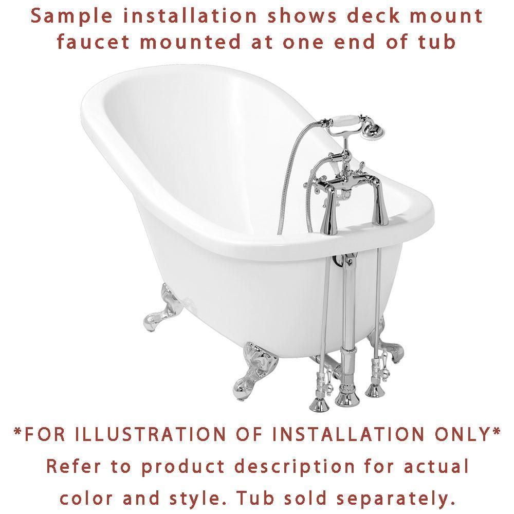Chrome Deck Mount Clawfoot Bath Tub Filler Faucet w Hand Shower
