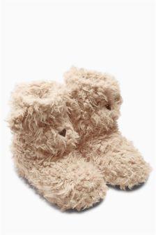a3c6e049a687 Mink Textured Bear Slipper Boots