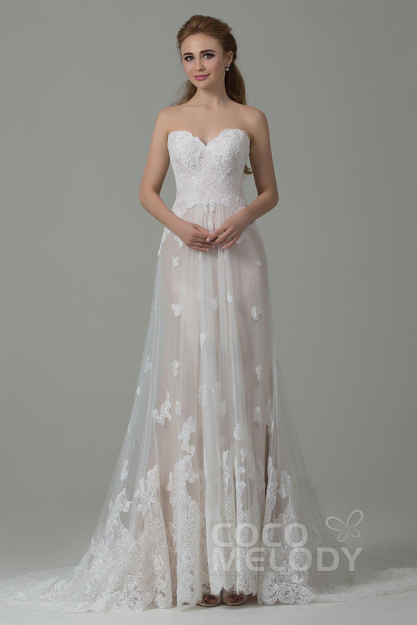 [ USD 499 ] SheathColumn Train Tulle Lace Wedding Dress