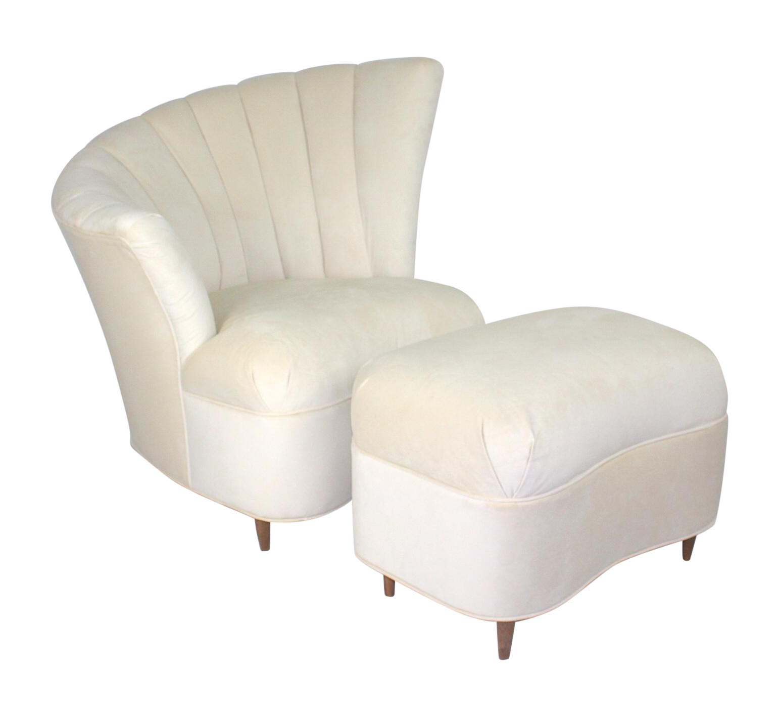 This vintage, elegant, asymmetrical fan back chair is newly upholstered in a creamy white velvet. Hollywood Regency at its finest! This chair has been restored to mint condition. The legs on the chair are vintage and walnut. OHHHH—and it comes with an ottoman which makes this the deal of the century and the most comfy place to sit in your home! Very sturdy chair and ottoman—vintage but feels like you are sitting on a cloud!  Works well in any decor which can handle a little spark!   Please…