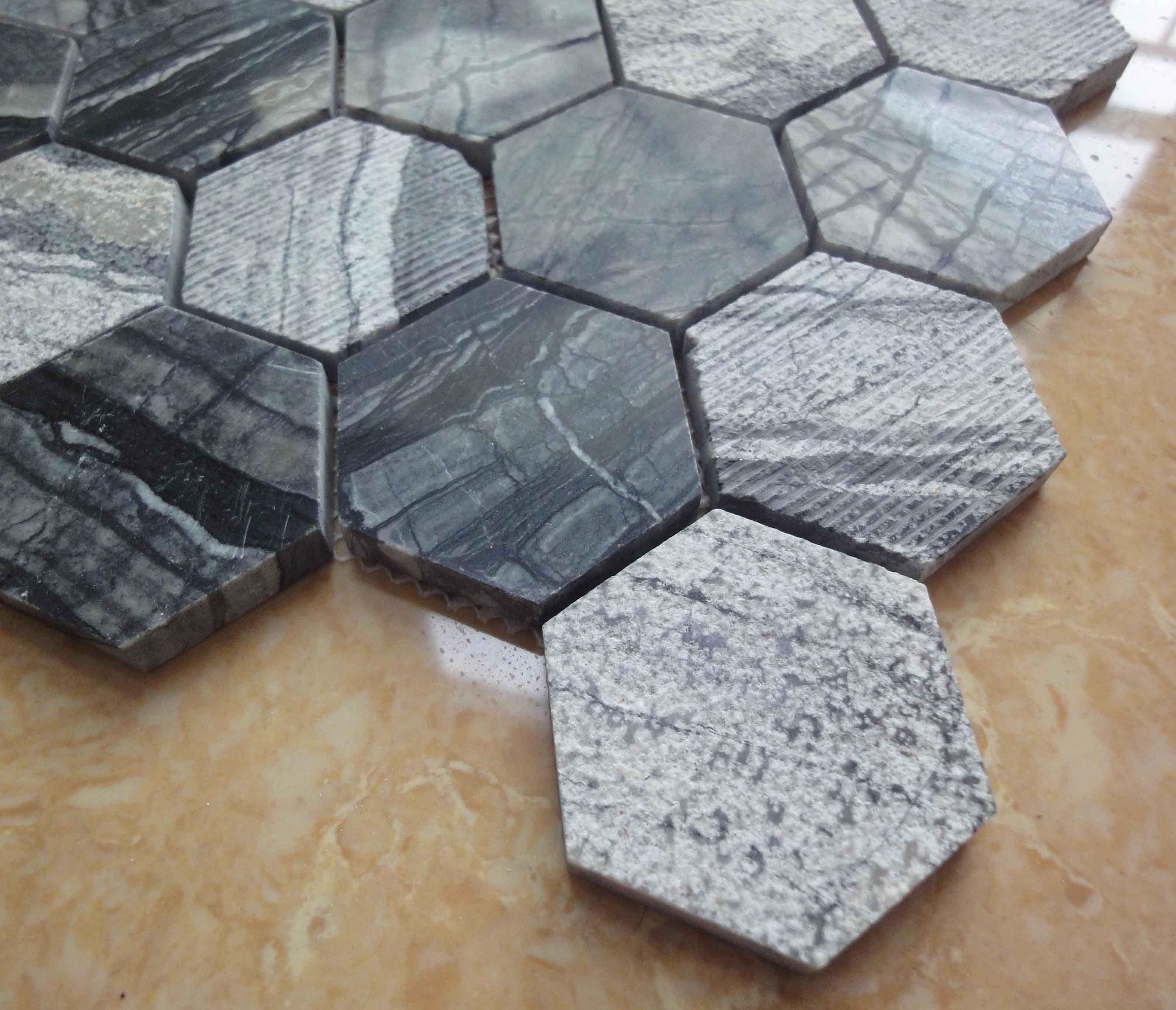 hexagon marmer mozaà ek wand vloer tegels pinterest badkamer
