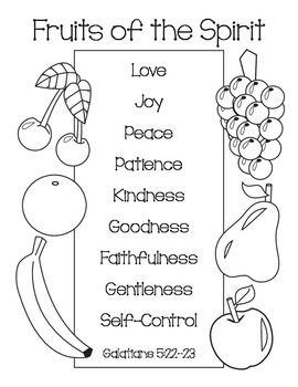 Fruits of the Spirit Coloring Page Sunday school Bible and Churches
