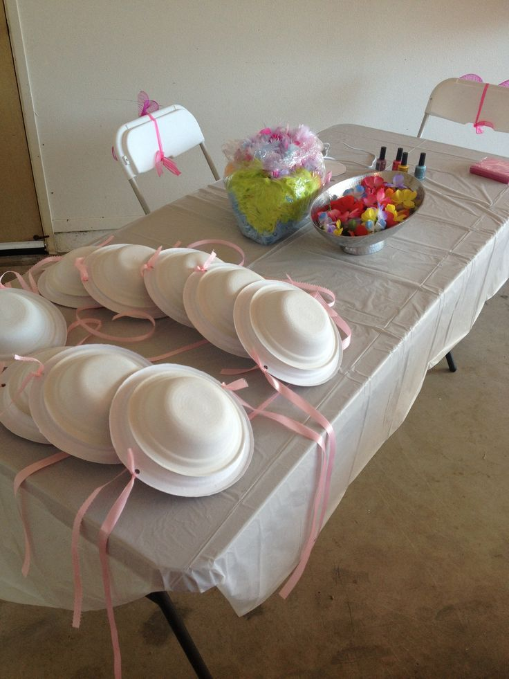 Tea Party Hat Station The Hats Look Like Plates And Bowls With Ribbon Smart Add Some Flowers And Boas And You Re Kids Tea Party Tea Party Girls Tea Party