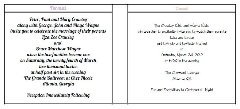 Wedding invitation wording including child google search for Kid free wedding invitations