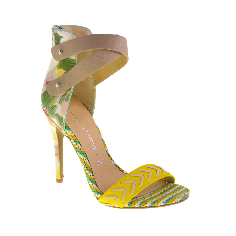 134db07300ebd8 Levita Floral Ankle Wrap Dress Sandal Yellow Multi