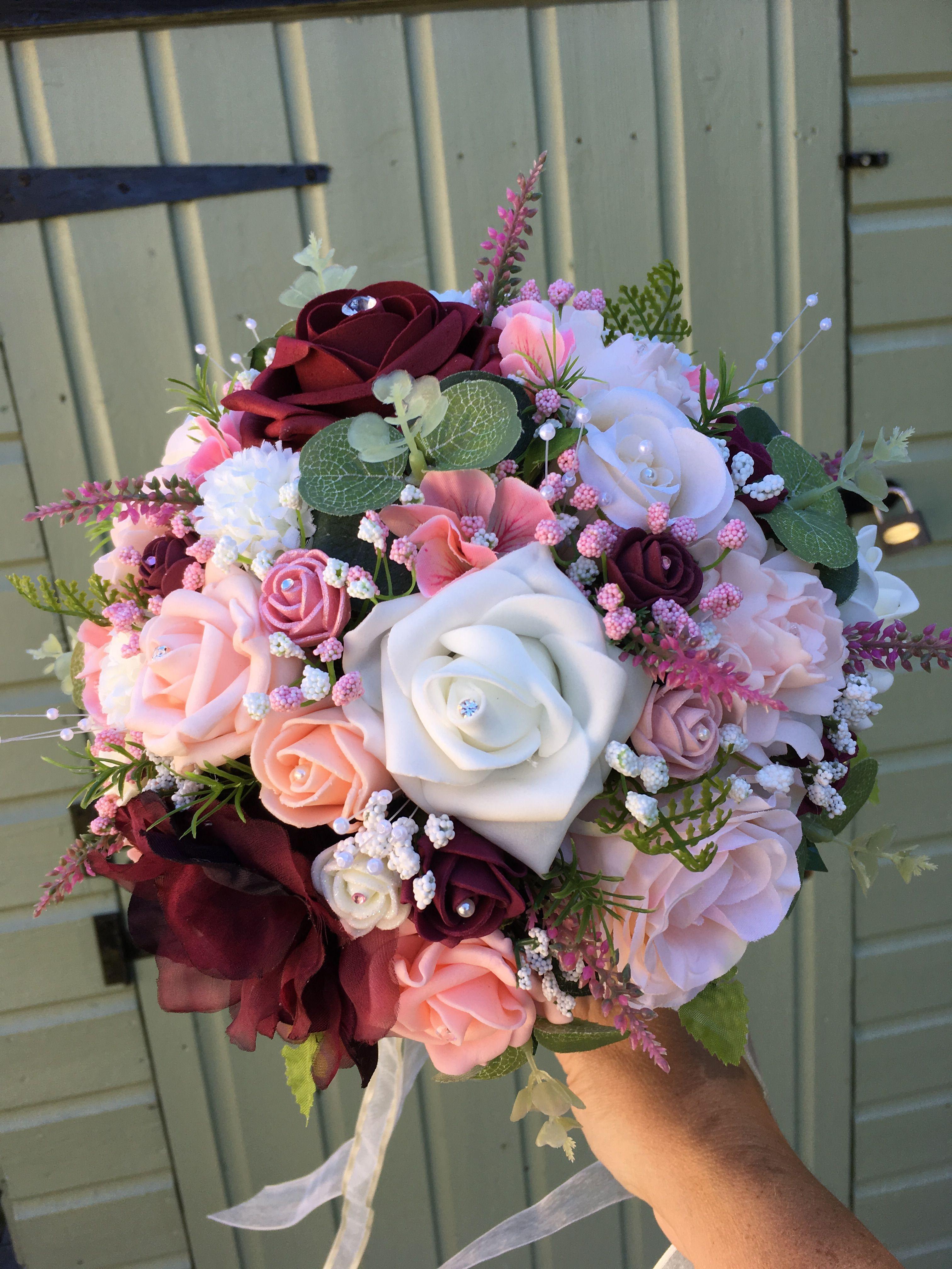 Burgundy Peach Baby Pink Wedding Bouquet Pinterest