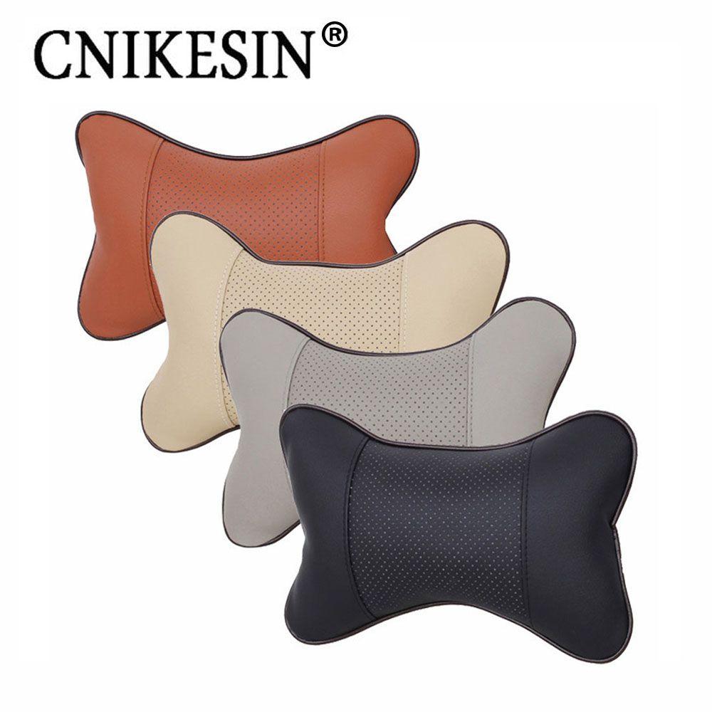 Pcs car neck pillow headrest pillow seat cushion pu leather soft