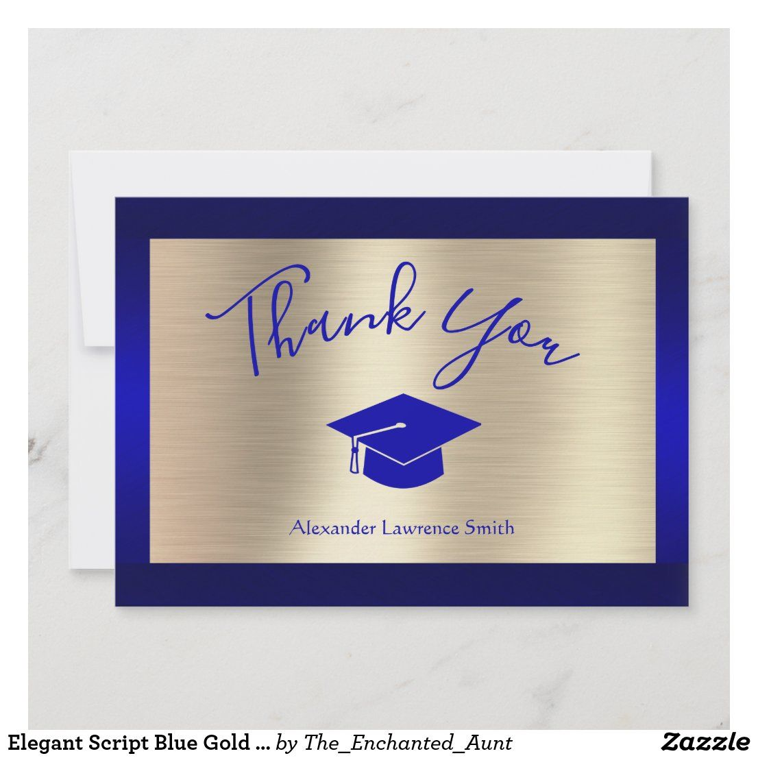 Elegant Script Blue Gold Graduation Thank You