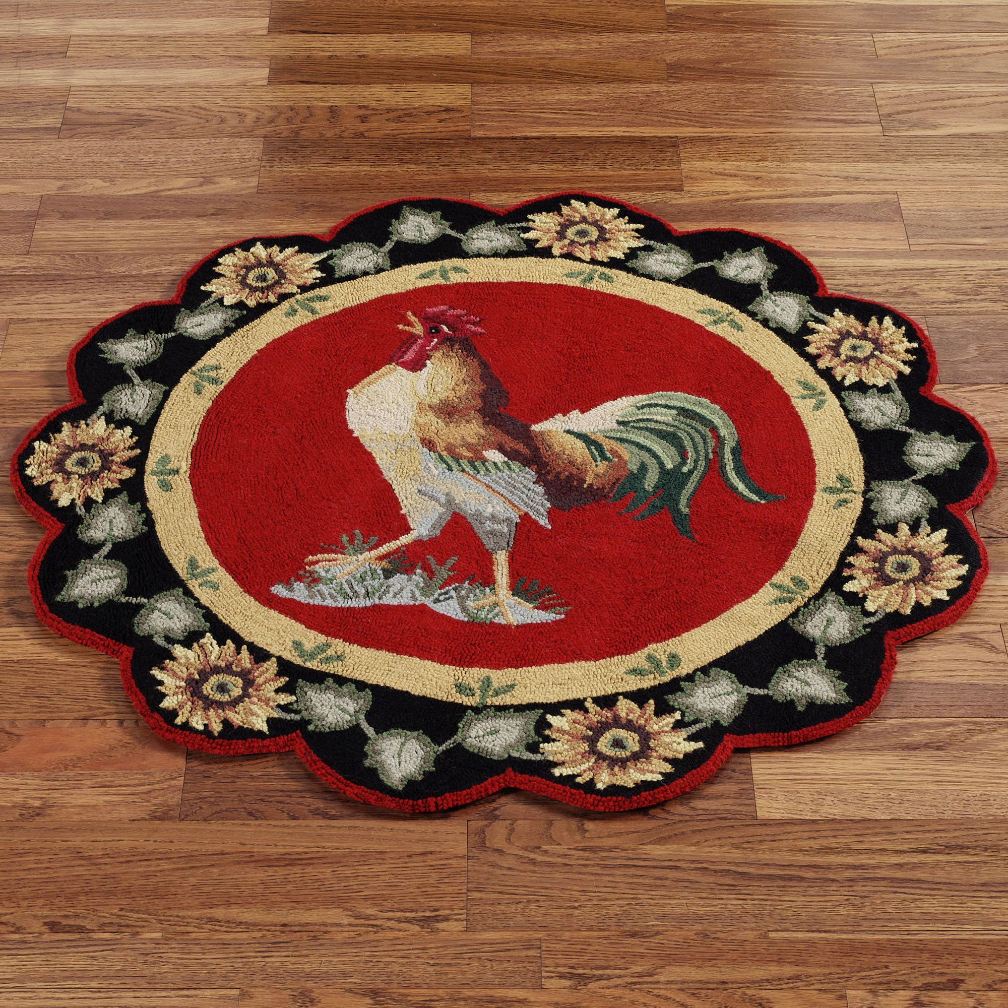 Awesome Round Rooster Rugs For Kitchen | Home Barnyard Rooster Round Rug 3u0027 Round